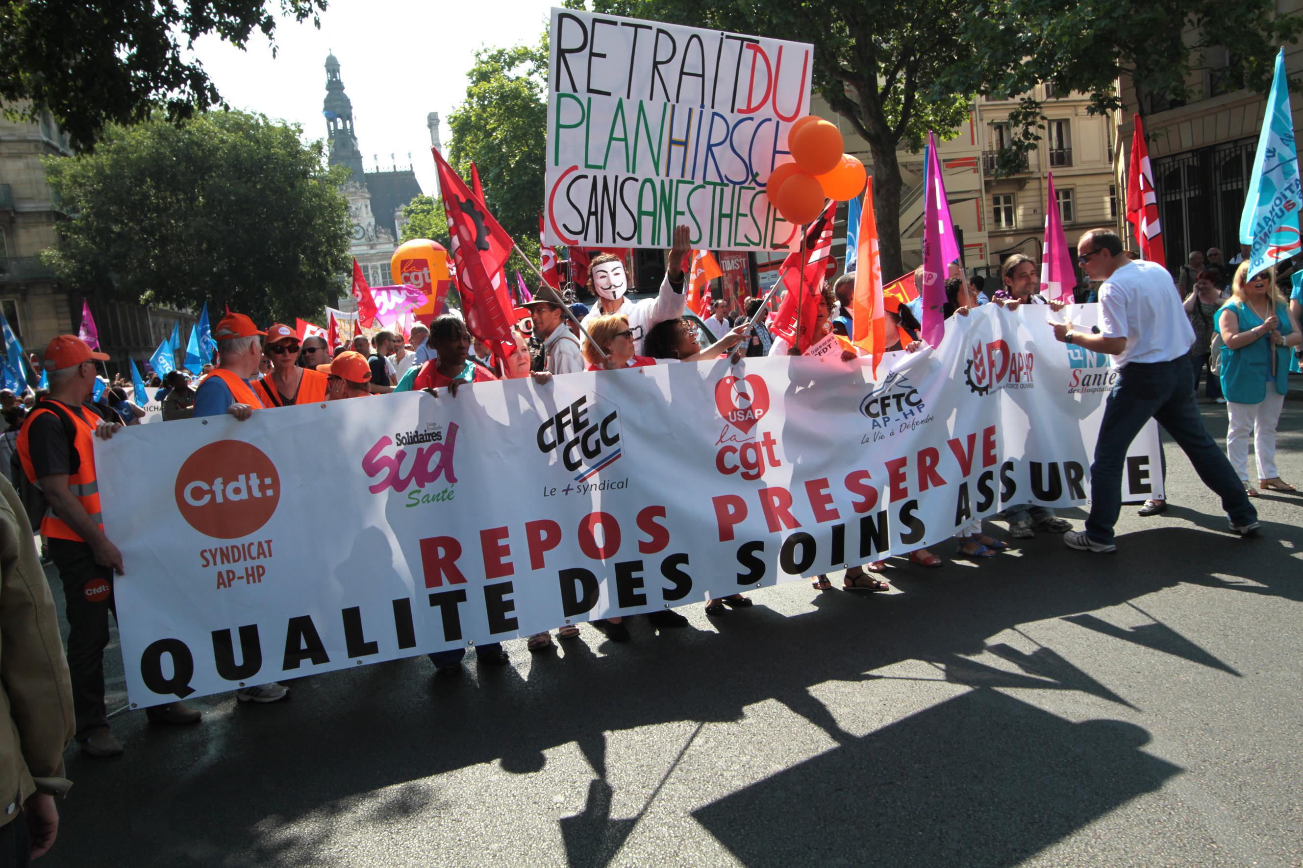 Paris, le 11 juin 2015, manifestation des salariéEs de l'AP-HP contre le projet de Martin Hirsch contre les RTT.